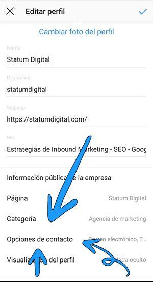 opciones contacto instagram